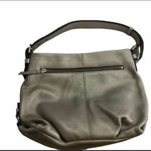 coach silver grey leather duffle convertible crossbody bag f15064 msrp $358